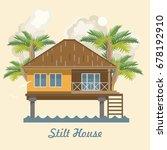 stilt house. vector illustration | Shutterstock .eps vector #678192910