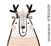 cute cartoon dear girl in... | Shutterstock .eps vector #678202624