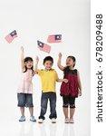 three kids holding malaysia...   Shutterstock . vector #678209488
