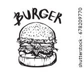 hand drawing style of burger... | Shutterstock .eps vector #678209770