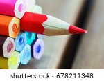 set of colored pencils with a... | Shutterstock . vector #678211348