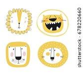 cute lion print | Shutterstock .eps vector #678220660