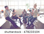 group of a young business...   Shutterstock . vector #678233104