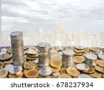 the coin is a bar graph. the... | Shutterstock . vector #678237934