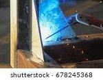 welding steel iron with blue... | Shutterstock . vector #678245368