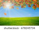 green grass field with blue sky ... | Shutterstock . vector #678245734