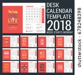calendar template for 2018 year.... | Shutterstock .eps vector #678248398
