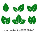 abstract green leaf eco icons... | Shutterstock . vector #678250960
