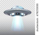 Ufo Flying Spaceship Isolated...