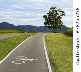 scenery bicycle lane on a hill...   Shutterstock . vector #678255298