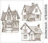 victorian cute little houses... | Shutterstock .eps vector #678260506