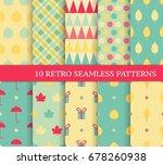 ten autumn different seamless... | Shutterstock .eps vector #678260938