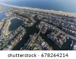 Small photo of Aerial view of Sunset Beach waterfront homes in Orange County California.