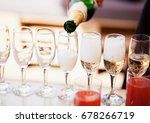 bartender pouring champagne... | Shutterstock . vector #678266719