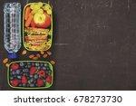 sandwich  apple  grape  carrot  ... | Shutterstock . vector #678273730