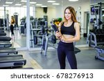 personal trainer woman holding... | Shutterstock . vector #678276913