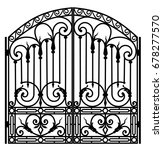black metal gate with forged... | Shutterstock .eps vector #678277570