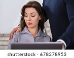 a boss touching the shoulder of ... | Shutterstock . vector #678278953