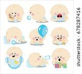 cute cartoon baby boy set... | Shutterstock . vector #678287416