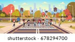 policeman guard help group of... | Shutterstock .eps vector #678294700