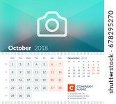 october 2018. calendar for 2018 ... | Shutterstock .eps vector #678295270