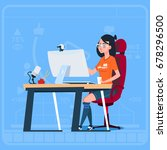 girl blogger sit at computer... | Shutterstock .eps vector #678296500