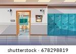 empty school corridor with... | Shutterstock .eps vector #678298819