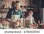 cute little girl and her... | Shutterstock . vector #678302050