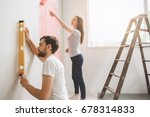 young couple doing apartment... | Shutterstock . vector #678314833
