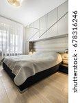 modern bedroom in gray...   Shutterstock . vector #678316246