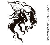valkyrie with curly hair and... | Shutterstock .eps vector #678323644