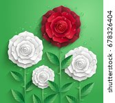 white and red paper roses with... | Shutterstock .eps vector #678326404