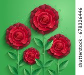 Red Paper Roses With Leaves An...