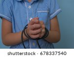 girl child with hands tied with ... | Shutterstock . vector #678337540