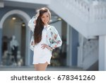 fashion woman outdoor. girl in... | Shutterstock . vector #678341260