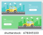 taxi banner. vector... | Shutterstock .eps vector #678345103
