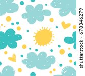seamless pattern with sun ... | Shutterstock .eps vector #678346279