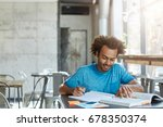 hardworking excited african... | Shutterstock . vector #678350374