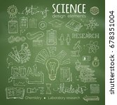 vector set of chalk science... | Shutterstock .eps vector #678351004
