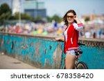 urban biking   young woman... | Shutterstock . vector #678358420