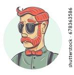 vector hipster portrait. round... | Shutterstock .eps vector #678363586