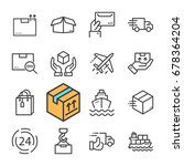 black line delivery icons set.... | Shutterstock . vector #678364204