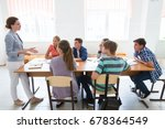 group of students listening to... | Shutterstock . vector #678364549