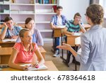 group of students listening to... | Shutterstock . vector #678364618