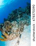an anchor chain from a cruise... | Shutterstock . vector #678370390