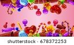 sweets cakes horizontal banner... | Shutterstock .eps vector #678372253