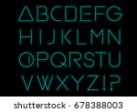 blue light alphabet font. neon... | Shutterstock .eps vector #678388003