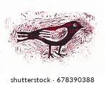 bird  linocut  graphic... | Shutterstock . vector #678390388