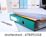 folder file  note and pen on... | Shutterstock . vector #678391318