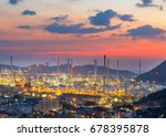 twilight of oil refinery  oil...   Shutterstock . vector #678395878